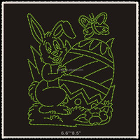 Aprise -Easter bunny with eggs custom rhinestone heat transfer for garment