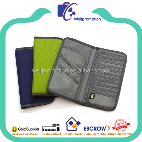 Functional polyester travel organizer wallet with belt