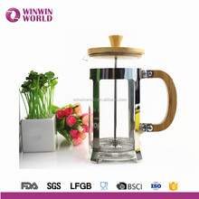 Wholesale 304 metal and borosilicate glass french press, coffee plunger, coffee maker with wooden lid