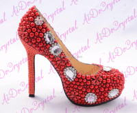 Flush Passion Red Pearls with Snow Diamond Wedding High Heel Shoes