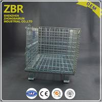 Safety Lock Folding Stacking Steel Wire Mesh Pallet Cage with Wheels for Auto Parts