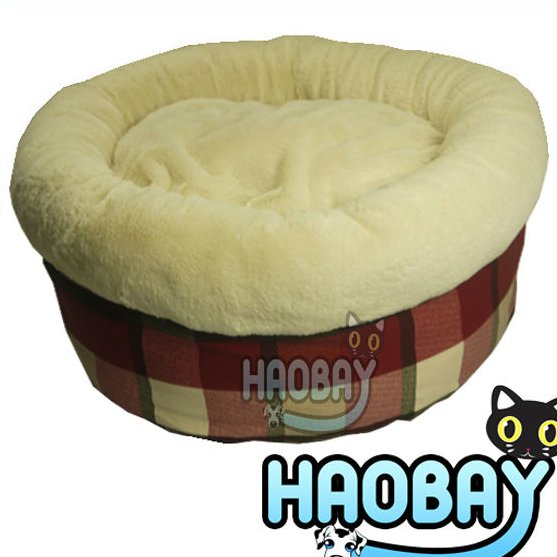 2016 New Pet Products Super Softy Colorful Lattice Round Luxury Designer Pet Dog Beds With Non-slip Bottom