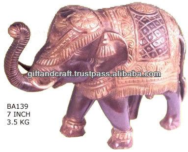 elephant outdoor decor with golden polish