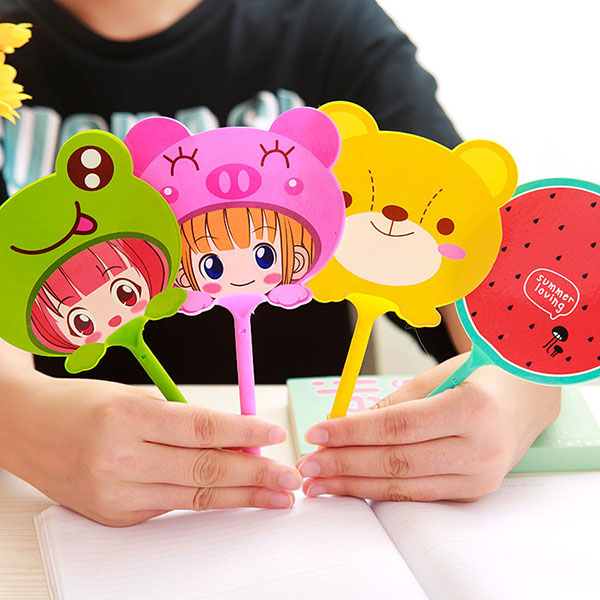 Cartoon fan shape ball point pen cute ballpoint pen for children