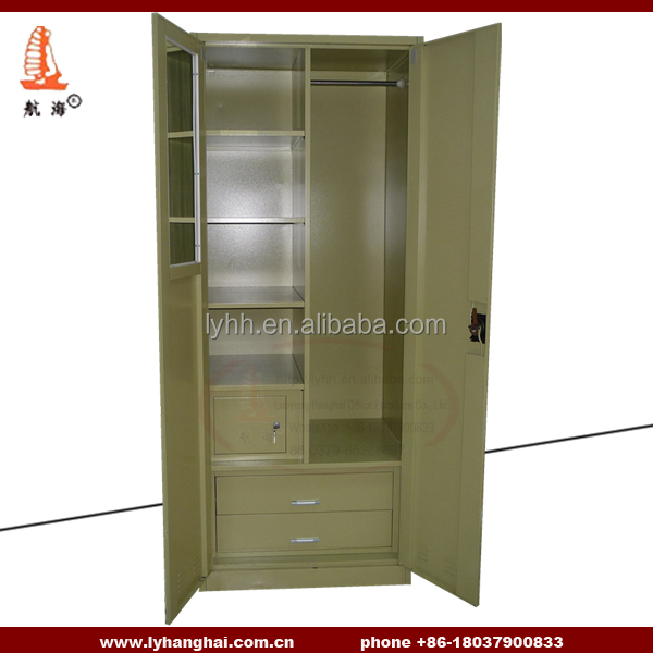 Fashionable indian lockable wardrobes Home healthy metal double door bedroom wardrobe desgin