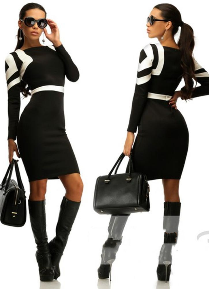 Get Quotations · summer style 2015 new urban women are striped long sleeved  dress sexy Knee-Length vestidos d0361861e79d