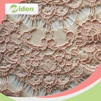 Sale on line pink color hollow out warp knitted lace fabric