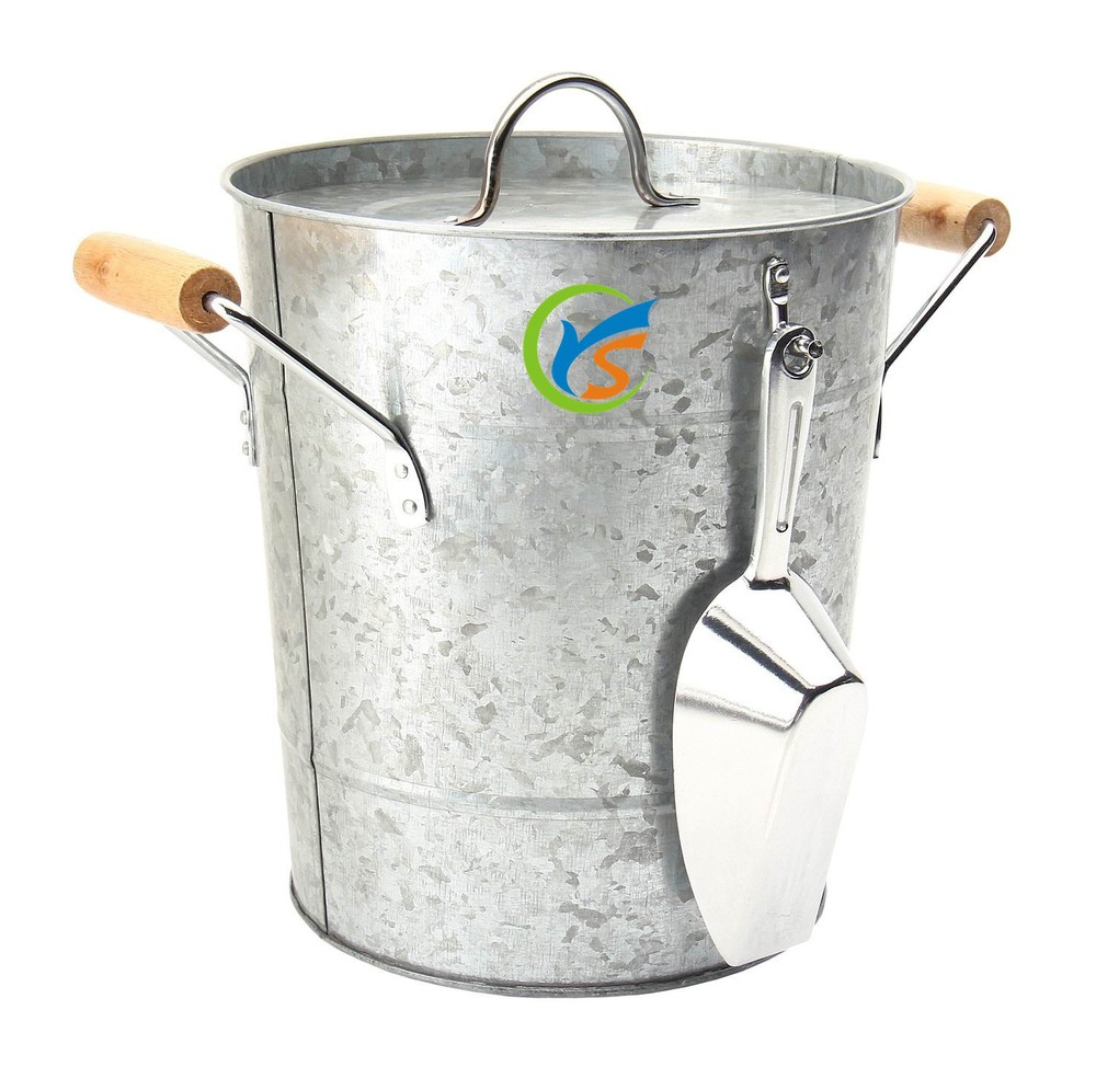 Galvanized steel Ice bucket with tongs and cover,cooler