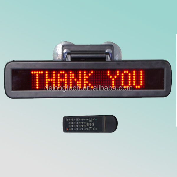 CE RoHS red 7X48pixel p4.75mm indoor 12v led car message moving scrolling sign display
