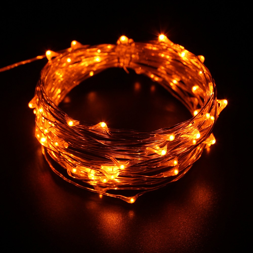 Ce Rohs Fcc Dimmable Christmas Warm White Battery Operated Led Copper Wire String Lights 33ft ...