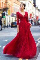 C72267A Sexy Deep V-neckline Long Sleeve Red Wedding Gown