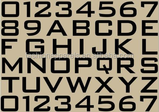 Custom Font And Size Alphabets And Numbers Plastisol Ink Heat Transfer Sticker Label Printing Fabric Clothing