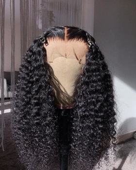 Qingdao factory pre plucked curly full lace human hair lace wig for women