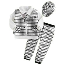 Three Pieces Casual Baby Boys Suit with Check pattern