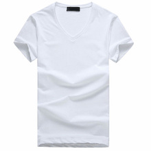 Men's white blank v neck t shirt with low price 100% recycled cotton tshirt with your own brand name