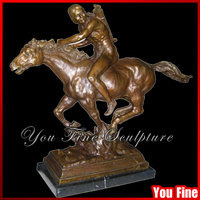 Bronze Man Riding Horse Statue For Decoration