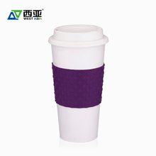 China factory best price cafe all color 500ml TPR plastic drinking water reusable coffee cup with sleeve