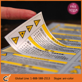 customized printed silver warning adhesive labels