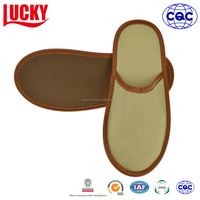 Luxury Nonwoven Bag Packing PU Leather 5 Star Hotel Slipper