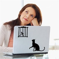Colorcasa removeable vinyl wall sticker cat&bird in cage laptop decal waterproof laptop/wall sticker for home decor(ZY324)