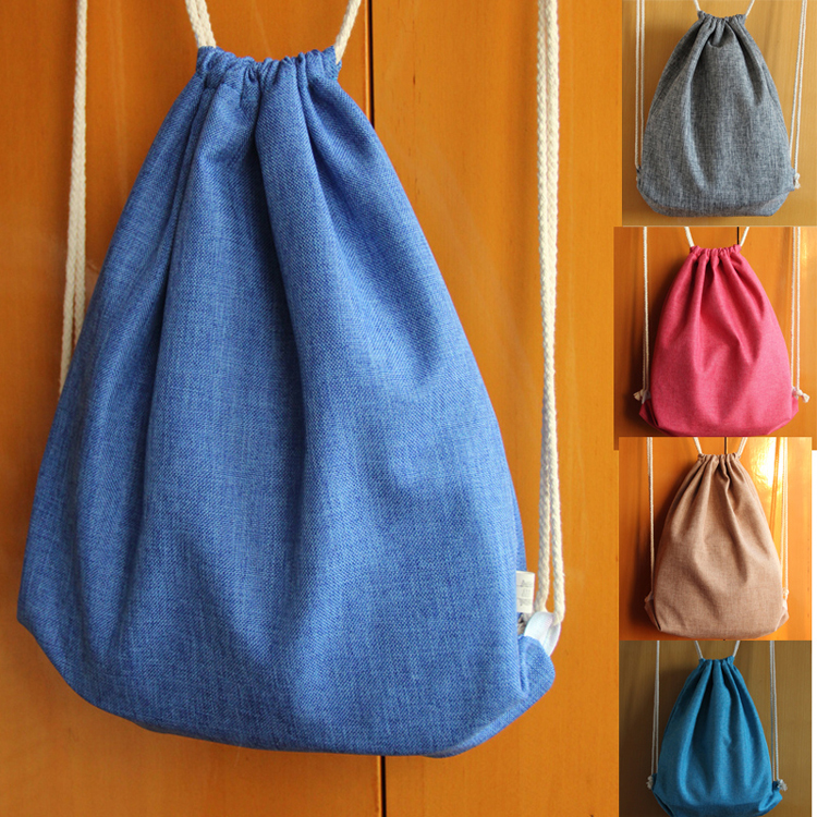 Cotton Canvas Draw String Backpack Student Book Bag