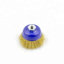 "Best price certificated brass plated crimped steel wire cup brush with Nut M10x1.25mm 7"" round wire brush for cleaning rust"