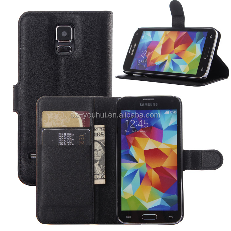 High Quality Leather Holster Card Wallet Folio Stand Flip Case Cover for Samsung S5 i9600