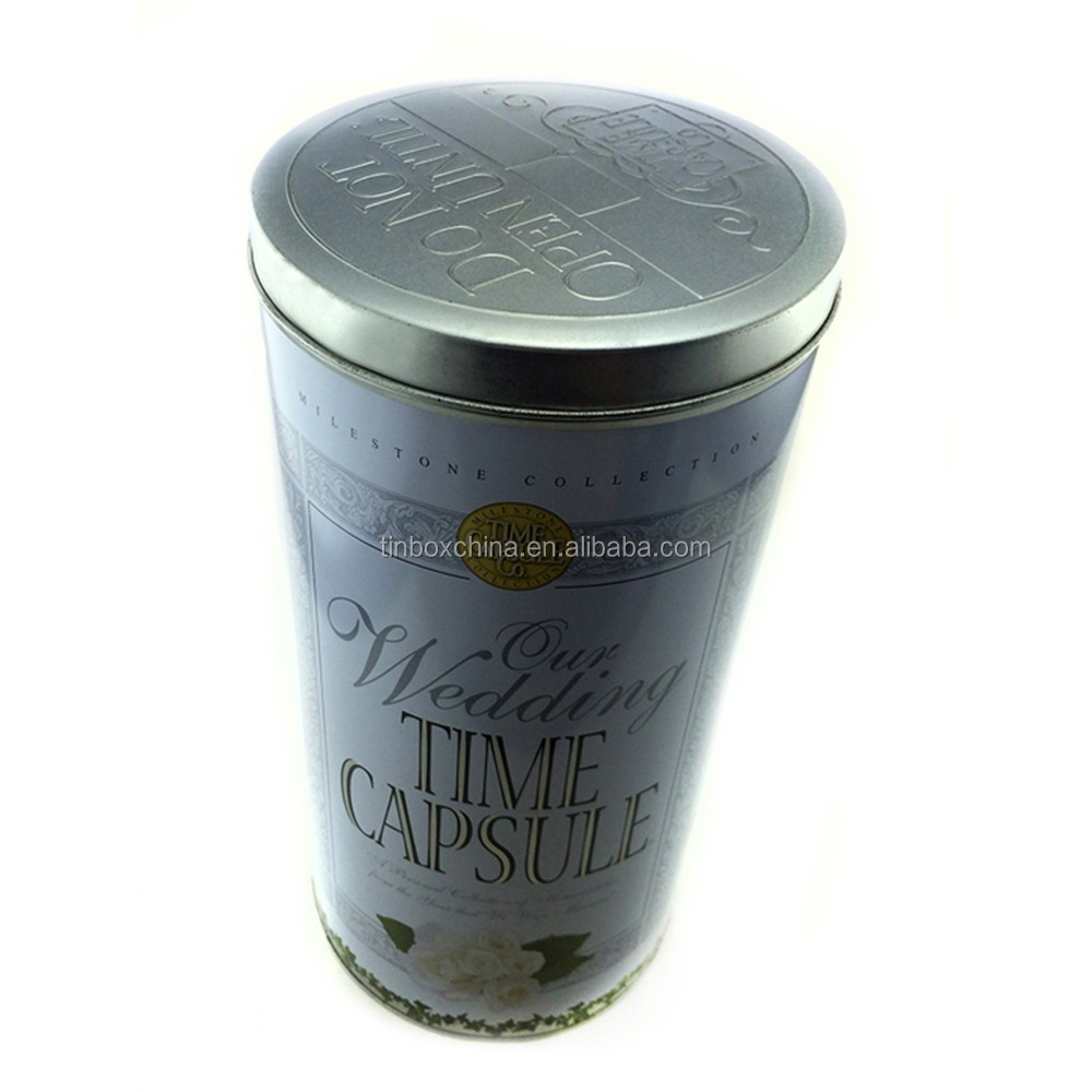 Fashional round tall tin box for candy tin can/mint candy tin box