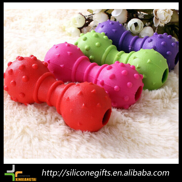 funny pet toy with bells dog toy barbell tooth molars bite TPR pet toys