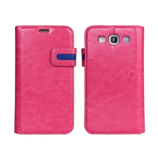 Dual Color Crazy Horse Wallet Leather Case For Samsung Galaxy S3 i9300