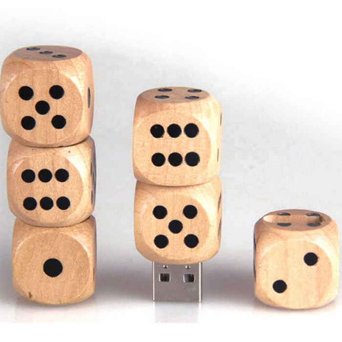 Disk Memory Gambling Wooden Memeroy Stick Dice Shape Creative USB Flash Drive