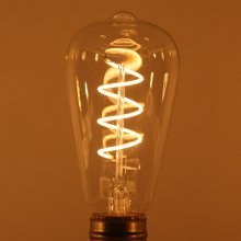 ST64 LED Soft filament bulb 230V Spiral Vintage edison filament lighting 4W