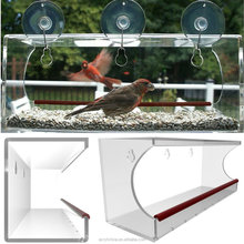 Bird Feeder, Aquiver Clear Acrylic with Removable Tray Drain Holes and Water Trough for watching Birds From Inside Your home