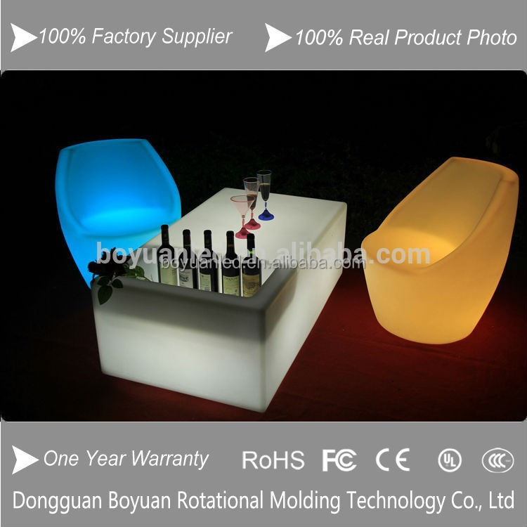 Plastic home bar led furniture, nightclub led bar table with ice bucket