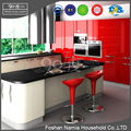 modern good quality kitchen furniture high gloss red kitchen cabinet wall hanging cabinet