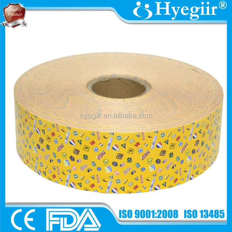 Yellow waterproof PE medical base material for wound plaster
