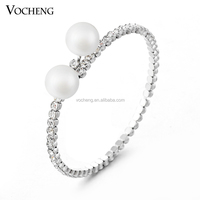 Wholesale 10pcs/lot White&Gold Plated Bangle Pearl& Clear Crystal New Fashion Women Bracelet (VG-036*10) Vocheng Jewelry
