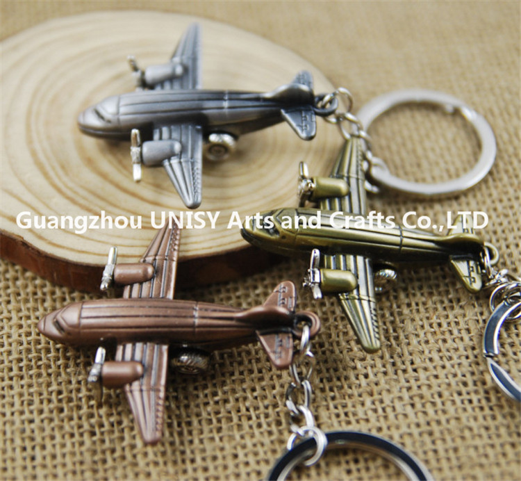 Much stock 3d metal airplane aeroplane shaped keyring key chain wholesale