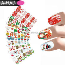 10 in 1 Christmas Santa Nail Art Decorations Full Wraps Nail Sticker Water Transfer Decals