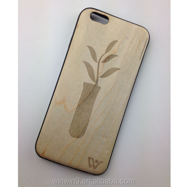 2 in 1 carven wood + soft Bamboo cover for Samsung S7 edge