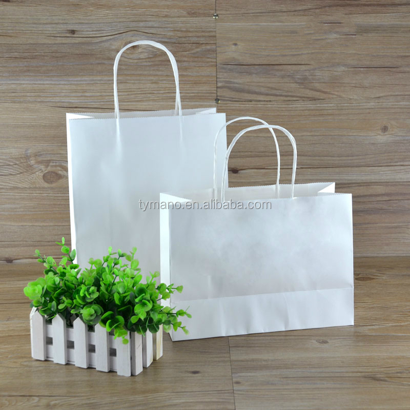 white kraft paper shopping bag with flat paper handle paper shopping bag for tea food