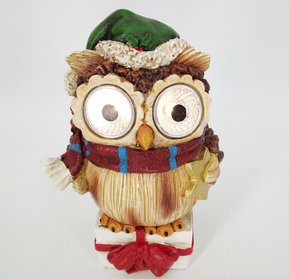 2018 Hot Selling Love Cute Hand made Out door Polyresin figurine Owl for Christmas Decor Owl Figurine