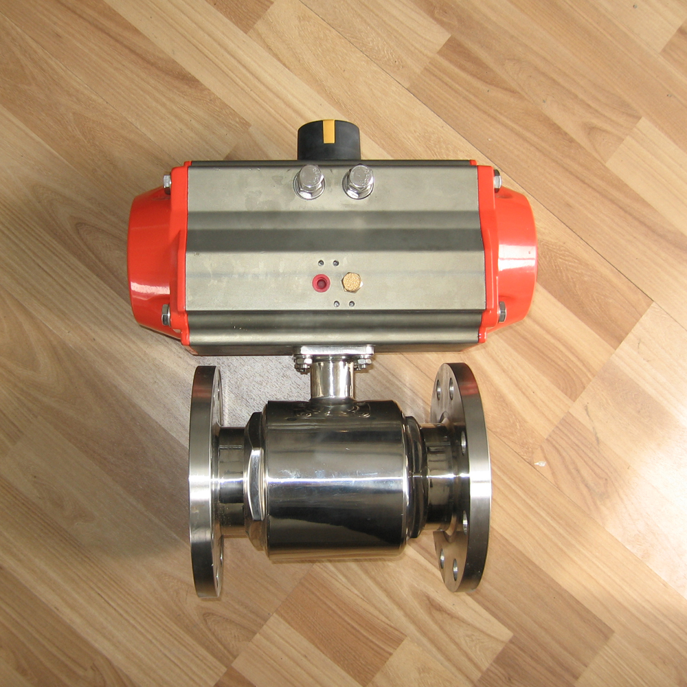 hot sale gas sanitary dn25 flanged ball valve with pneumatic actuator