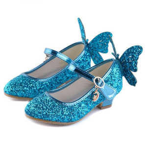 Baby Princess Girls Shoes Sandals For Kids Glitter Butterfly Low Heel Children Shoes Girls Party Enfant meisjes schoenen