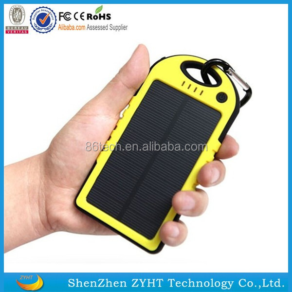 Travel products new design hot sale LED lightings 10000mah solar power bank waterproof best solar cell phone power charger H