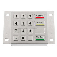 16 keys vandal proof metal numeric function keypad