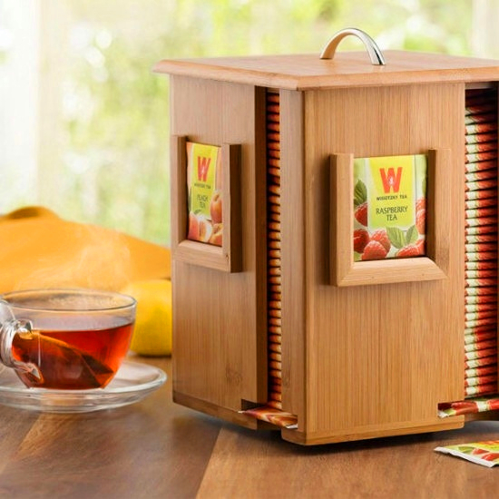 Custom Collins Wooden Tea Coffee Packing Box Tea Bag Container For Table