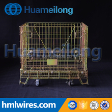 Folding steel metal wire pallet cage with wheels