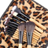 personalized oem 12pcs Leopard Wooden Handle Nylon Hair Beauty Cosmetic makeup Brush Set Make Up brushes Tool with Velvet Bag