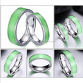 Green Luminous Light Rings Couple Rings Stainless Steel Jewelry Men Women Engagement Wedding Ring